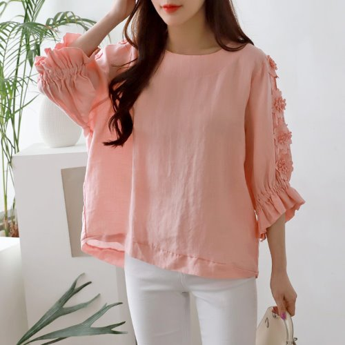 Linen Flower Blouse