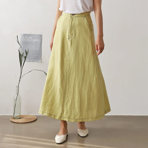 Linen Stitch A-Line Long Skirt