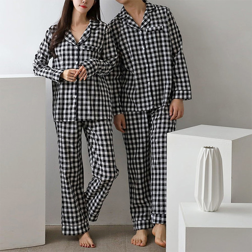 Check Pajama Set - 커플룩