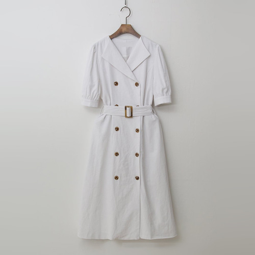 Linen Trench Puff Dress