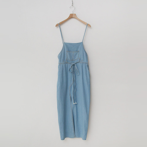 Summer Denim Overalls Slit Long Dress