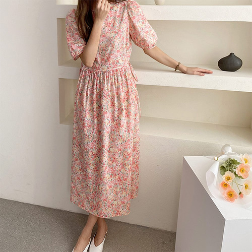 Blossom Puff Long Dress