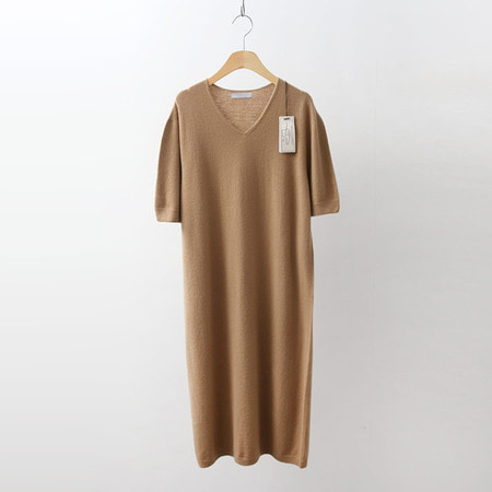 Hoega Cashmere Wool V-Neck Long Dress