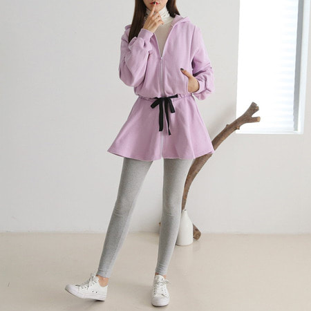 Double Gimo Hoodie Zip-Up Mini Dress