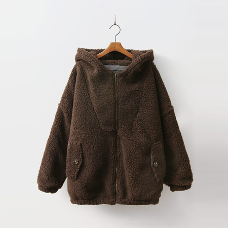 Shearling Hood Zip-Up Jumper - 누빔안감