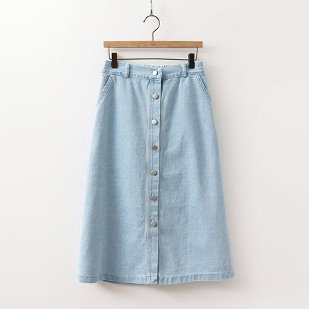 Denim Button Long Skirt
