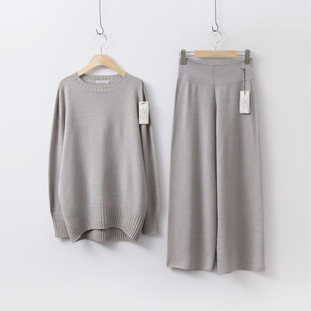 [Set] Hoega Round Knit + Wide Pants