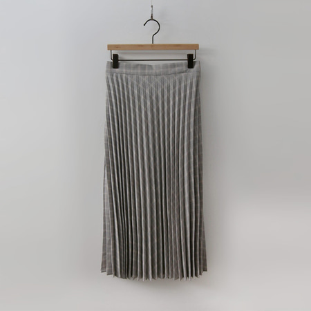 Glen Pleated Long Skirt