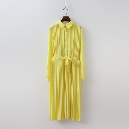 Collar Pleated Long Dress