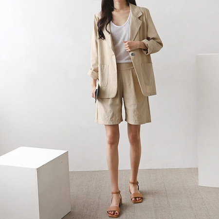 [Set] Linen Chic Jacket + Four Shorts