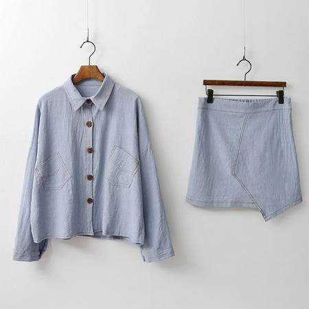 [Set] Linen Cotton Shirts + Mini Skirt