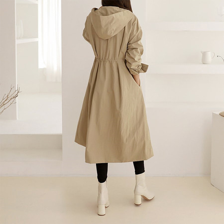 Hoodied Fit N Flare Trench Coat