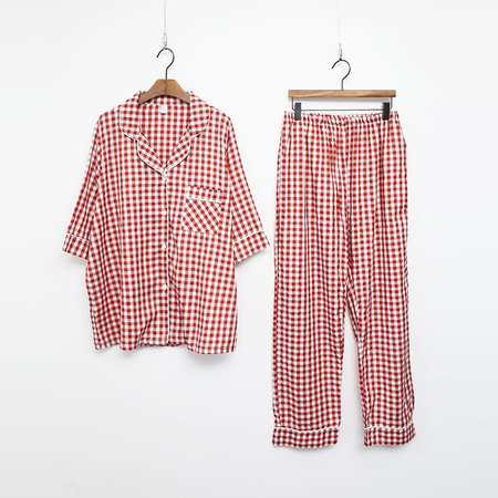 Gingham Pajamas Set - 7부소매