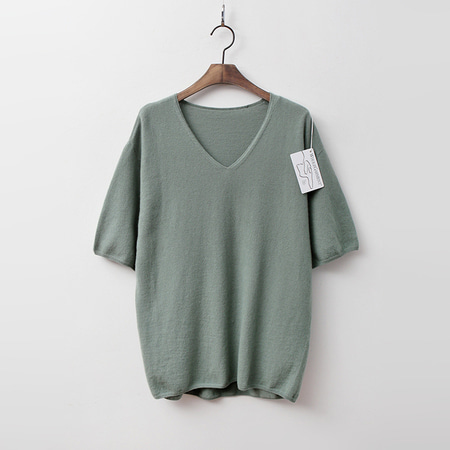 Laine Cashmere N Wool V-Neck Sweater - 반팔