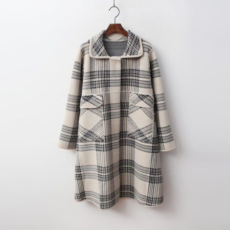 Wool Check A-Line Warm Knit Coat