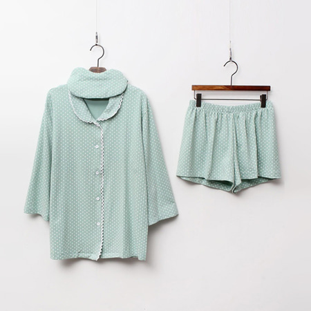 Pastel Dot Pajamas Set - 안대포함