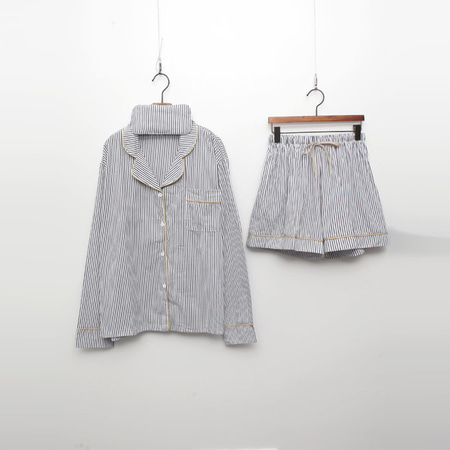 Stripe Cotton Pajamas Set - 안대포함