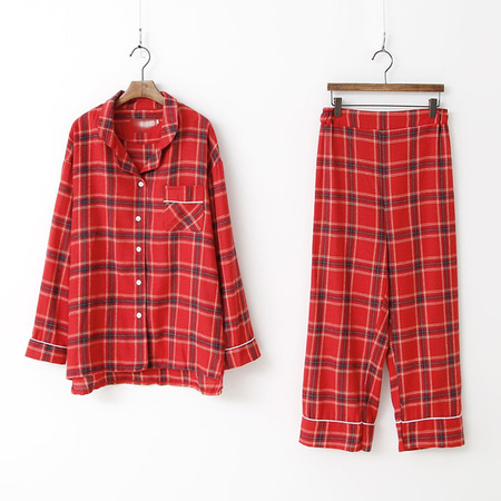 Merry Check Pajamas Set - 커플룩