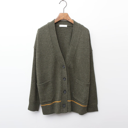 Wool Line Button Cardigan