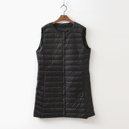 Round Puffer Long Vest - 경량