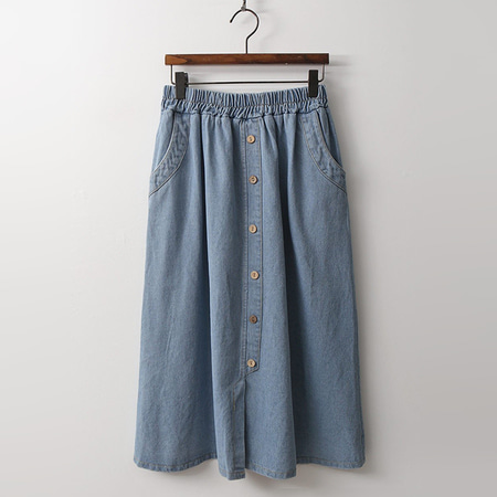 Button Full Denim Skirt