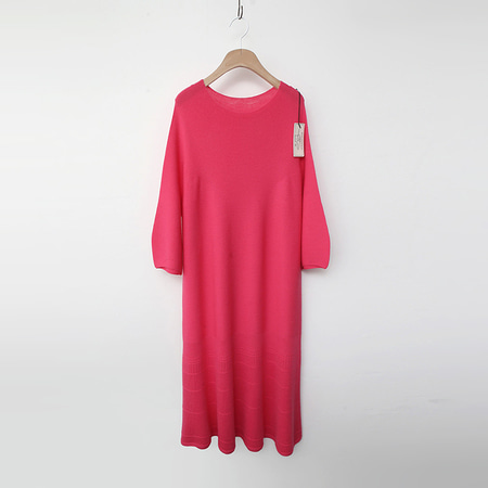 Laine Wool Puff Flare Long Dress - 7부소매