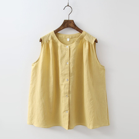 Linen Bio Button Blouse - 민소매