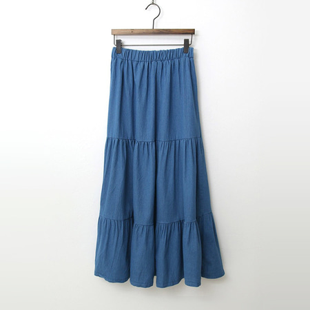 Summer Denim Cancan Long Skirt