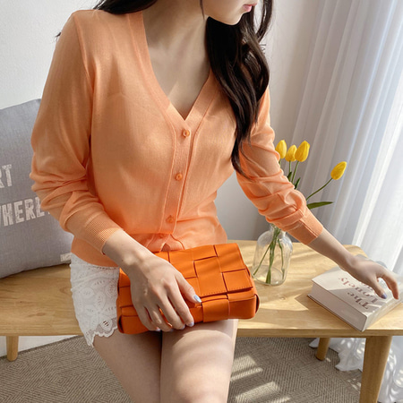 Orange Button Cardigan