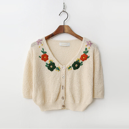 Flower Crop Knit Cardigan