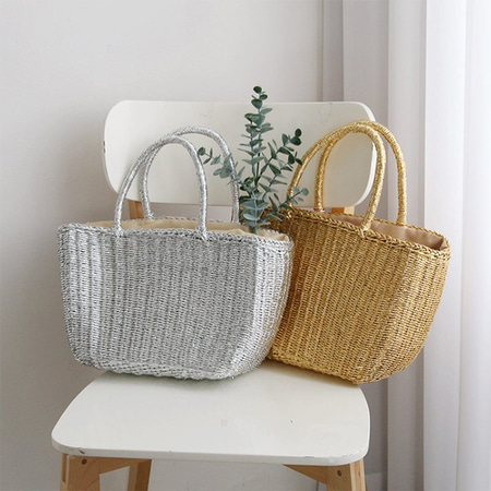 Rattan Gold Silver Tote Bag