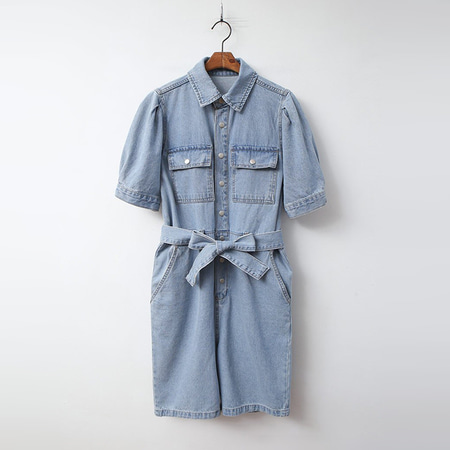 Puff Denim Shorts Jumpsuit