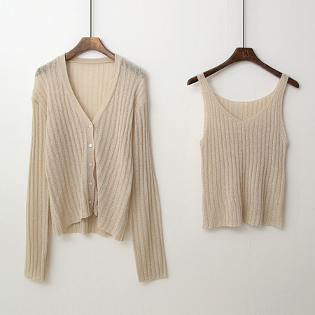 [Set] Sleeveless Knit + Cardigan