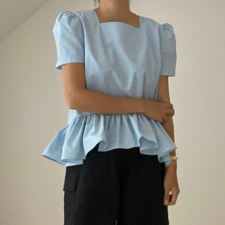 Puff Square Peplum Blouse