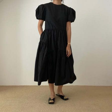 Puff Cancan Long Dress