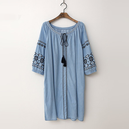 Summer Denim Ethnic Dress