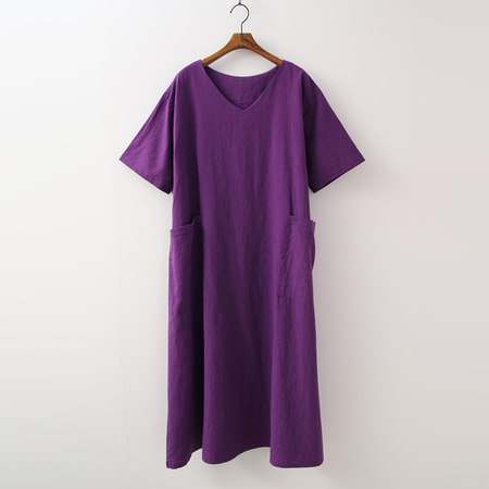 Linen Cotton V-Neck Long Dress