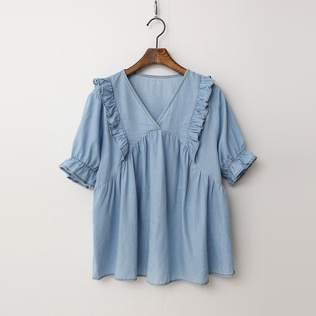 Summer Denim V-Neck Frill Blouse