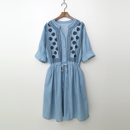 Summer Denim Broderie Dress