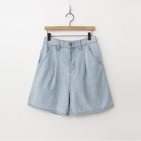 Pintuck Banding Denim Shorts