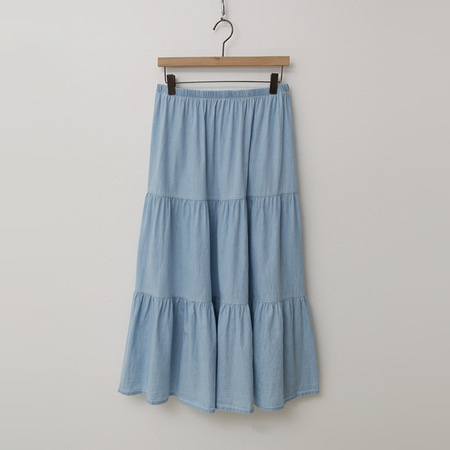 Denim Cancan Long Skirt