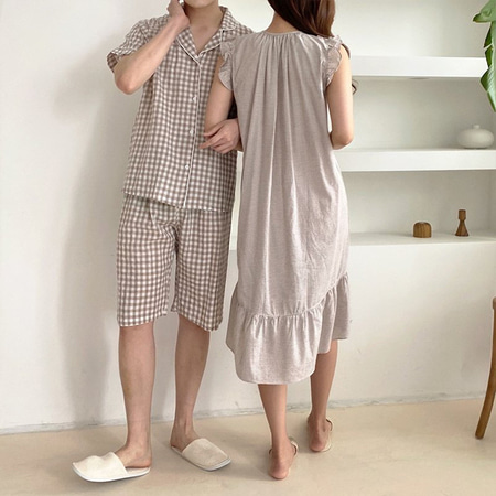 Beige Check Pajama Set - 커플룩