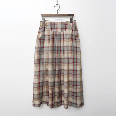 Linen Check Long Skirt
