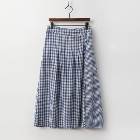 Linen Cotton Check Long Skirt