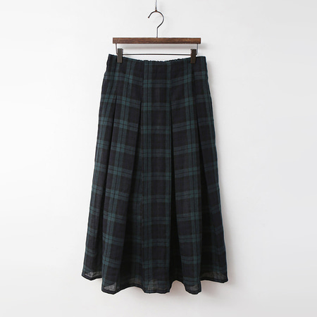 Linen Tartan Pleated Long Skirt