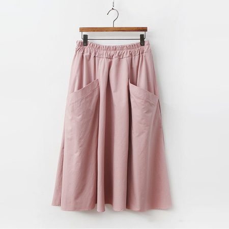 Cotton Pocket Long Skirt