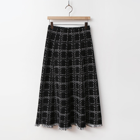 Wool Tweed Check Knit Skirt