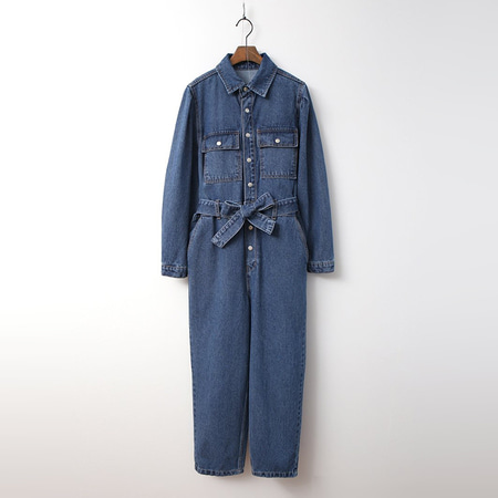 Puff Denim Jumpsuit