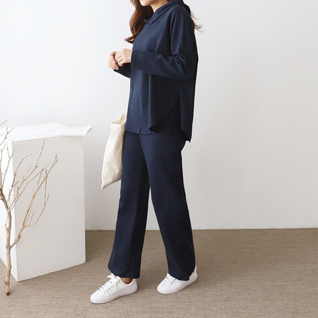 [Set] Hood Flare Tee + Wide Pants