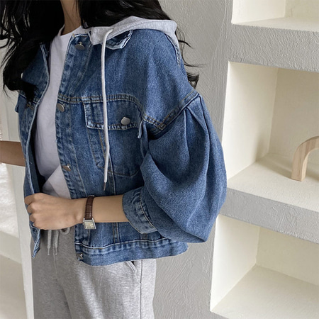 Denim Hood Puff Crop Jacket